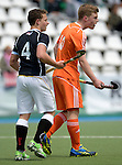 GER - Mannheim, Germany, May 16: During the whitsun tournament boys hockey match between Germany (black) and The Netherlands (orange) on May 16, 2016 at Mannheimer HC in Mannheim, Germany. Final score 4-3 (HT 2-0). (Photo by Dirk Markgraf / www.265-images.com) *** Local caption *** Tim Bamberg #4 of Germany (U16), Jim vande Venne #10 of The Netherlands