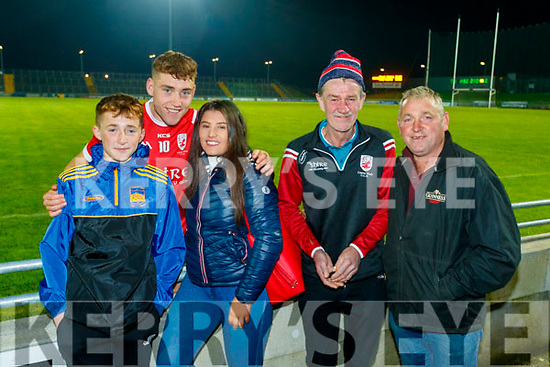Timothy Moynihan, Dara Moynihan, Saoirse O'Connor, Mike Foley and Timmy Moynihan at the Kerry County Senior Football Championship Final match between East Kerry and Mid Kerry at Austin Stack Park in Tralee on Saturday night.