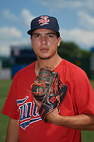 Elizabethton Twins pitcher Andrew Cabezas (35) poses for a photo before a game against the Bristol Pirates on July 29, 2018 at Joe O'Brien Field in Elizabethton, Tennessee.  Bristol defeated Elizabethton 7-4.  (Mike Janes/Four Seam Images)