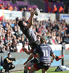 Ospreys flanker James King claims the restart ball.<br /> Guiness Pro12<br /> Ospreys v Munster<br /> Liberty Stadium<br /> 07.03.15<br /> ©Steve Pope - SPORTINGWALES