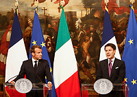 French President Emmanuel Macron, left, and Italian President Giuseppe Conte attend a joint press conference at the end of their meeting at Chigi Palace government office in Rome, September 18, 2019.<br /> UPDATE IMAGES PRESS/Riccardo De Luca