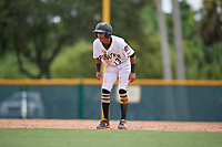 GCL Pirates Carlos Canache (13) leads off second base during a Gulf Coast League game against the GCL Twins on August 6, 2019 at Pirate City in Bradenton, Florida.  GCL Twins defeated the GCL Pirates 1-0 in the second game of a doubleheader.  (Mike Janes/Four Seam Images)