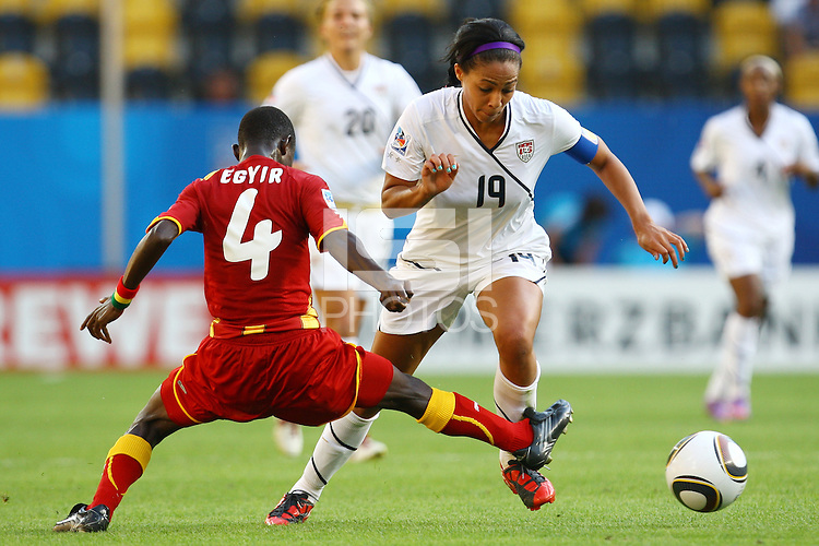 USA's Sydney Leroux (R) and Janet Egyir of Ghana during the FIFA U20 Women's World Cup at the Rudolf Harbig Stadium in Dresden, Germany on July 14th, 2010.