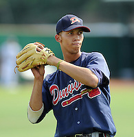 Infielder Andrelton Simmons (5) of the Danville Braves in a game against the Elizabethton Twins on July 16, 2010, at Joe O'Brien Field in Elizabethton, Tenn. Simmons was the Atlanta Braves'  2nd round pick in the 2010 Draft. Photo by: Tom Priddy/Four Seam Images