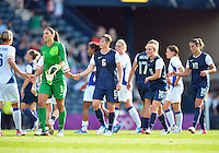 July 25, 2012..Members of USA Women Football team shake hands at the conclusion of USA vs France Football match during 2012 Olympic Games at Hampden Park in Glasgow, England. USA defeat France 4-2 after conceding two goals in the first half of the match...(Credit Image: © Mo Khursheed/TFV Media)
