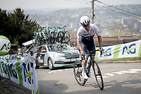 Guillaume Boivin (CAN/Israel Start-Up Nation) suffering up the infamous Mur de Huy<br /> <br /> 85th La Flèche Wallonne 2021 (1.UWT)<br /> 1 day race from Charleroi to the Mur de Huy (BEL): 194km<br /> <br /> ©kramon