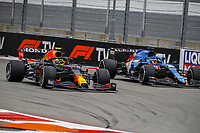 26th September 2021; Sochi, Russia; F1 Grand Prix of Russia, Race Day:  Varstappen overtakes Alonso during the Formula 1 VTB Russian Grand Prix