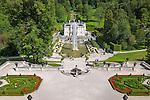 Germany, Upper Bavaria, near Ettal: Linderhof Palace built 1869-1886 by King Ludwig II of Bavaria | Deutschland, Bayern, Oberbayern, bei Ettal: Schloss Linderhof, (die Koenigliche Villa) erbaut von 1869 bis 1886, Lieblingsschloss des Maerchenkoenigs Ludwig II. von Bayern
