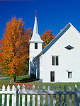 Orange County, VT<br /> West Topsham Community Church with white picket fence and fall colored trees