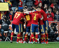 Spain's players celebrate after scoring a goal during international match of the qualifiers for the FIFA World Cup Brazil 2014.March 22,2013.(ALTERPHOTOS/Victor Blanco)