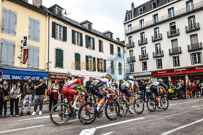 The breakaway of the day with Matej Mohoric (SLO) Bahrain Victorious, Sean Bennett (USA) Qhubeka NextHash, World Champion Julian Alaphilippe (FRA) Deceuninck-Quick-Step and Pierre-Luc Perichon (FRA) Cofidis during Stage 18 of the 2021 Tour de France, running 129.7km from Pau to Luz Ardiden, France. 15th July 2021.  <br /> Picture: A.S.O./Charly Lopez | Cyclefile<br /> <br /> All photos usage must carry mandatory copyright credit (© Cyclefile | A.S.O./Charly Lopez)