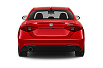 Straight rear view of 2021 Alfaromeo Giulia - 4 Door Sedan Rear View  stock images