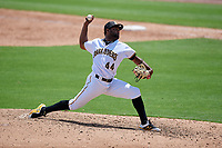 Bradenton Marauders relief pitcher Joel Cesar (44) during a Florida State League game against the Charlotte Stone Crabs on April 10, 2019 at LECOM Park in Bradenton, Florida.  Bradenton defeated Charlotte 2-1.  (Mike Janes/Four Seam Images)