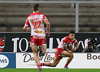 20th November 2020; Totally Wicked Stadium, Saint Helens, Merseyside, England; BetFred Super League Playoff Rugby, Saint Helens Saints v Catalan Dragons; Regan Grace of St Helens scores a try after 74 minutes to make the score 46-2
