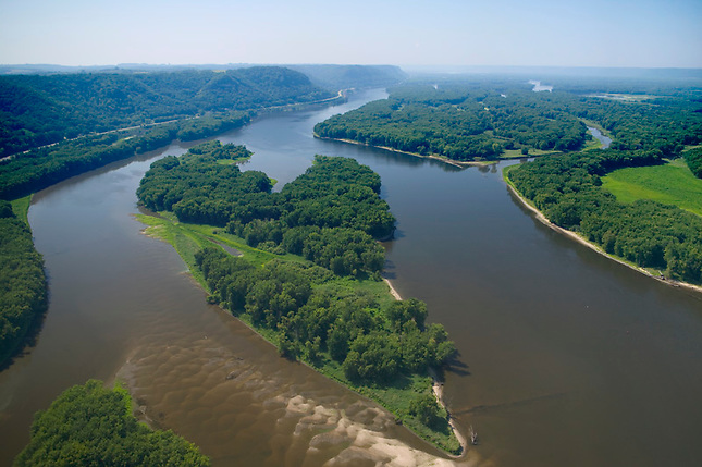 Islands and marshland on Mississippi River at Lansing Iowa.