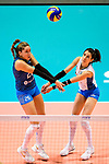Agostina Denisse Soria (L) and Tatiana Soledad Rizzo of Argentina (R) in action during the FIVB Volleyball Nations League Hong Kong match between China and Argentina on May 29, 2018 in Hong Kong, Hong Kong. Photo by Marcio Rodrigo Machado / Power Sport Images