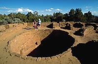 Couple visiting the Anasazi ruins at Mesa Verde. Colorado.