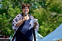 Montreal (Qc) CANADA - August 13, 2011 - Mary Deros, conseillère de la Ville du district de Parc-Extension depuis 1998 et présidente du conseil consultatif d'urbanisme de l'arrondissement  a précisé que ''La ville de  Montreal est fière de s'associer au Festival dans le cadre de sa 10ième édition'' et que ''Si Montréal est devenu une métropole d'importance c'est grace aux centaine de festivals et d'événement qui se déroulent annuellement à Montréal''
