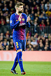 Gerard Pique Bernabeu of FC Barcelona gestures during the UEFA Champions League 2017-18 quarter-finals (1st leg) match between FC Barcelona and AS Roma at Camp Nou on 05 April 2018 in Barcelona, Spain. Photo by Vicens Gimenez / Power Sport Images
