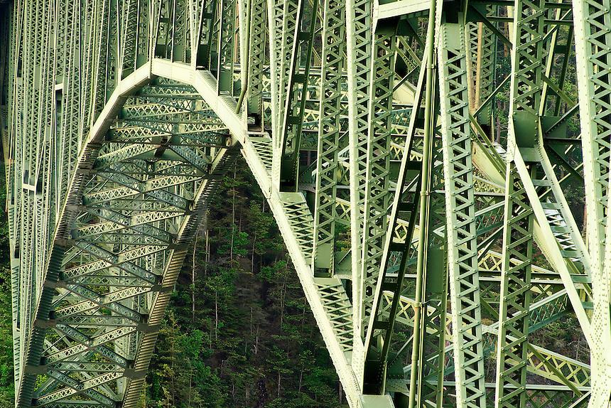 Steel structure of Deception Pass Bridge, Deception Pass State Park, Island County & Skagit County, Washington, USA