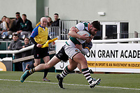 Matt Cornish of Ealing Trailfinders is tackled by David Williams of Nottingham Rugby during the Championship Cup Quarter Final match between Ealing Trailfinders and Nottingham Rugby at Castle Bar , West Ealing , England  on 2 February 2019. Photo by Carlton Myrie / PRiME Media Images.