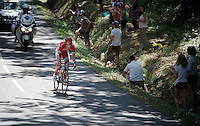 Kenneth Vanbilsen (BEL/Cofidis) closes in on race leader Pierrick Fédrigo (FRA/Bretagne-Séché Environnement) 2 minutes ahead. <br /> At one point during the stage they will lead with as much as 15 minutes on the peloton.<br /> <br /> stage 10: Tarbes - La Pierre-Saint-Martin (167km)<br /> 2015 Tour de France