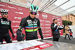 World Champion Peter Sagan (SVK) Bora-Hansgrohe at sign on before the start of the 2018 Strade Bianche NamedSport race running 184km from Siena to Siena, Italy. 3rd March 2018.<br /> Picture: LaPresse/Massimo Paolone | Cyclefile<br /> <br /> <br /> All photos usage must carry mandatory copyright credit (© Cyclefile | LaPresse/Massimo Paolone)