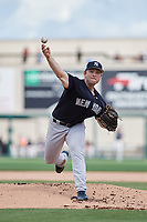 New York Yankees starting pitcher Chance Adams (43) delivers a pitch during a Grapefruit League Spring Training game against the Detroit Tigers on February 27, 2019 at Publix Field at Joker Marchant Stadium in Lakeland, Florida.  Yankees defeated the Tigers 10-4 as the game was called after the sixth inning due to rain.  (Mike Janes/Four Seam Images)