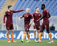 Roma's Kevin Strootman , left, gestures to his teammates, from second left, Radja Nainggolan, Kostas Manolas and Antonio Ruediger, after scoring during the Serie A soccer match between Roma and Napoli at the Olympic stadium, 4 March 2017.<br /> UPDATE IMAGES PRESS/Isabella Bonotto