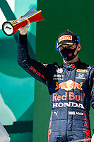 VERSTAPPEN Max (ned), Red Bull Racing Honda RB16B, portrait celebrating his second position during the Formula 1 Heineken Grande Prémio de Portugal 2021 from April 30 to May 2, 2021 on the Algarve International Circuit, in Portimao, Portugal <br /> FORMULA 1 : Grand Prix Portugal - Essais - Portimao - 02/05/2021 <br /> Photo DPPI/Panoramic/Insidefoto <br /> ITALY ONLY