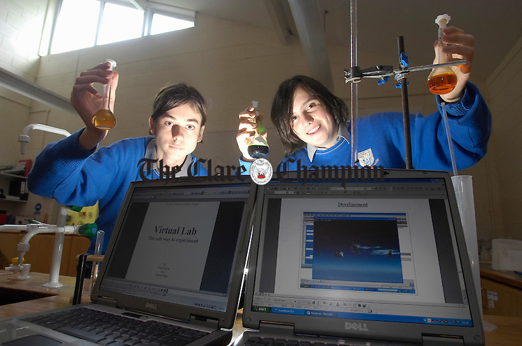 Gort Community School pupils; Robin Flake and Finn Krewer whose project involves the development of a virtual laboratory on computer. Photograph by John Kelly.