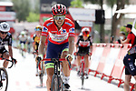 Race leader Odd Christian Eiking (NOR) Intermarché-Wanty-Gobert Matériaux crosses the finish line at the end of Stage 11 of La Vuelta d'Espana 2021, running 133.6km from Antequera to Valdepeñas de Jaén, Spain. 25th August 2021.     <br /> Picture: Luis Angel Gomez/Photogomezsport | Cyclefile<br /> <br /> All photos usage must carry mandatory copyright credit (© Cyclefile | Luis Angel Gomez/Photogomezsport)