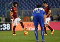 Calcio, Serie A: Roma vs Sampdoria. Roma, stadio Olimpico, 7 febbraio 2016.<br /> Roma's Mohamed Salah, left, and Diego Perotti react after Sampdoria scored during the Italian Serie A football match between Roma and Sampdoria at Rome's Olympic stadium, 7 January 2016.<br /> UPDATE IMAGES PRESS/Riccardo De Luca
