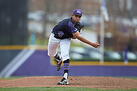 High Point Panthers starting pitcher Muhammed Eid (23) follows through on his delivery against the North Carolina Central Eagles at Williard Stadium on February 28, 2017 in High Point, North Carolina. The Eagles defeated the Panthers 11-5. (Brian Westerholt/Four Seam Images)