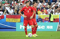 Robert Lewandowski und Arkadiusz Milik (POL) - EM 2016: Deutschland vs. Polen, Gruppe C, 2. Spieltag, Stade de France, Saint Denis, Paris