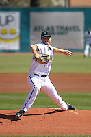 Coastal Carolina Chanticleers pitcher Austin Wallace #18 on the mound during a game against the Ohio State Buckeyes at Watson Stadium at Vrooman Field on March 11, 2012 in Conway, SC. Coastal Carolina defeated Ohio State 3-2. (Robert Gurganus/Four Seam Images)