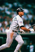 Alex Rodriguez of the Seattle Mariners during a game at Anaheim Stadium in Anaheim, California during the 1997 season.(Larry Goren/Four Seam Images)