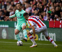 11th September 2021;  Bet365 Stadium, Stoke, Staffordshire, England; EFL Championship football, Stoke City versus Huddersfield Town; Harry Toffolo of Huddersfield Town looks for support