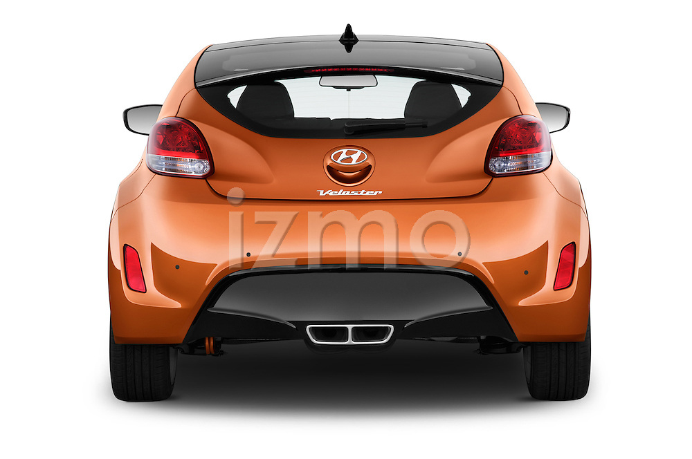 Straight rear view of 2016 Hyundai Veloster 1.6-Manual 4 Door Hatchback Rear View  stock images
