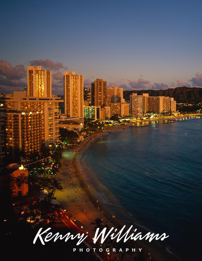 Waikiki Beach at Night, Honolulu, Oahu, Hawaii, USA.