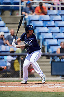 Binghamton Rumble Ponies catcher Tomas Nido (7) at bat during a game against the Altoona Curve on June 14, 2018 at NYSEG Stadium in Binghamton, New York.  Altoona defeated Binghamton 9-2.  (Mike Janes/Four Seam Images)