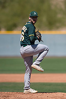 Oakland Athletics relief pitcher Brandon Marsonek (46) during a Minor League Spring Training game against the Chicago Cubs at Sloan Park on March 19, 2018 in Mesa, Arizona. (Zachary Lucy/Four Seam Images)