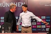 28.04.2018, Football 1. Bundesliga 2017/2018, 32.  match day, FC Bayern Muenchen - Eintracht Frankfurt, in Allianz-Arena Muenchen. re: Trainer Niko Kovac (Eintracht Frankfurt) laesst Trainer Jupp Heynckes (li, FC Bayern Muenchen)   PK den Vortritt. *** Local Caption *** © pixathlon<br /> <br /> +++ NED out !!! +++<br /> Contact: +49-40-22 63 02 60 , info@pixathlon.de