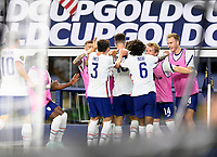 DALLAS, TX - JULY 25: Matthew Hoppe #13 of the United States celebrates his goal in the second half with his teammates during a game between Jamaica and USMNT at AT&T Stadium on July 25, 2021 in Dallas, Texas.