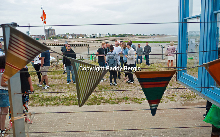 Free Rave Dance Party at West Beach Cafe, West Beach, Littlehampton, West Sussex during July 2017.<br /> <br /> DJs Max Ludford, Steve Cox, Matt Bergin, Andy Moore, Mark Allister, Michael de Courcy & Harvey Bailey provided a mixture of great dance tracks.<br /> <br /> Stock Photo by Paddy Bergin