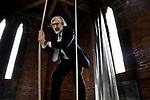 BOSTON, MAY 12:   David Vogan, rings the bells for five minutes in the bell tower of the church, after the service to complete the days celebration of the 350th anniversary,  Sunday, May 12, 2019, at the old South Church in Boston. Jim Michaud / MediaNews Group/Boston Herald)