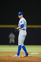 AZL Royals relief pitcher Daniel Garmendia (26) looks to his catcher for the sign against the AZL Mariners on July 29, 2017 at Peoria Stadium in Peoria, Arizona. AZL Royals defeated the AZL Mariners 11-4. (Zachary Lucy/Four Seam Images)