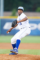Burlington Royals relief pitcher Robinson Yambati (35) in action against the Princeton Rays at Burlington Athletic Park on July 11, 2014 in Burlington, North Carolina.  The Rays defeated the Royals 5-3.  (Brian Westerholt/Four Seam Images)