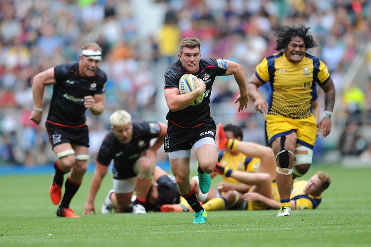 Ben Spencer of Saracens runs in a try during the Aviva Premiership Rugby match between Saracens and Worcester Warriors at Twickenham Stadium on Saturday 03 September 2016 (Photo by Rob Munro/Stewart Communications)