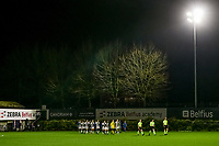 The players entering the field before a female soccer game between Sporting Charleroi and KRC Genk Ladies on the 9th matchday of the 2020 - 2021 season of Belgian Scooore Womens Super League , friday 11 th of December 2020  in Marcinelle , Belgium . PHOTO SPORTPIX.BE | SPP | STIJN AUDOOREN